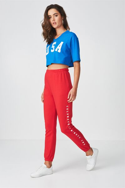 High Waist Graphic Trackpant, RED/PRINT