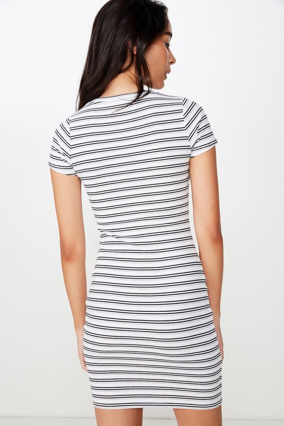 Lucia Rib Tee Mini Dress, NEUTRAL STRIPE (WHT/BLK/GREY MARLE)