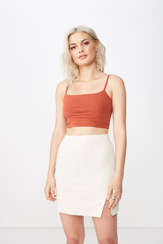 Lily Split Front Mini Skirt, OATMEAL