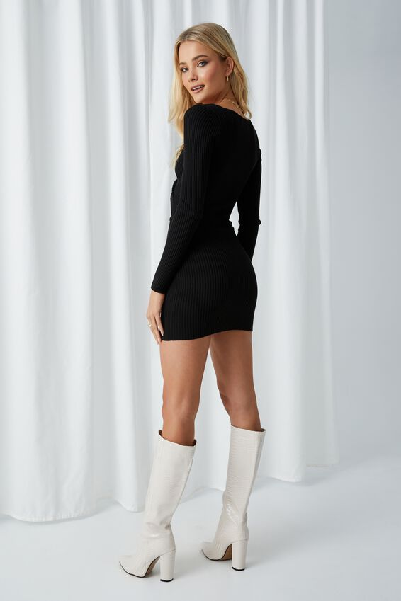 Long Sleeve Reversible Mini Dress, BLACK