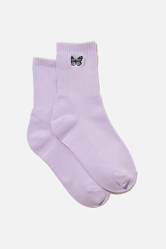Ribbed Socks, SWEET LILAC BUTTERFLY
