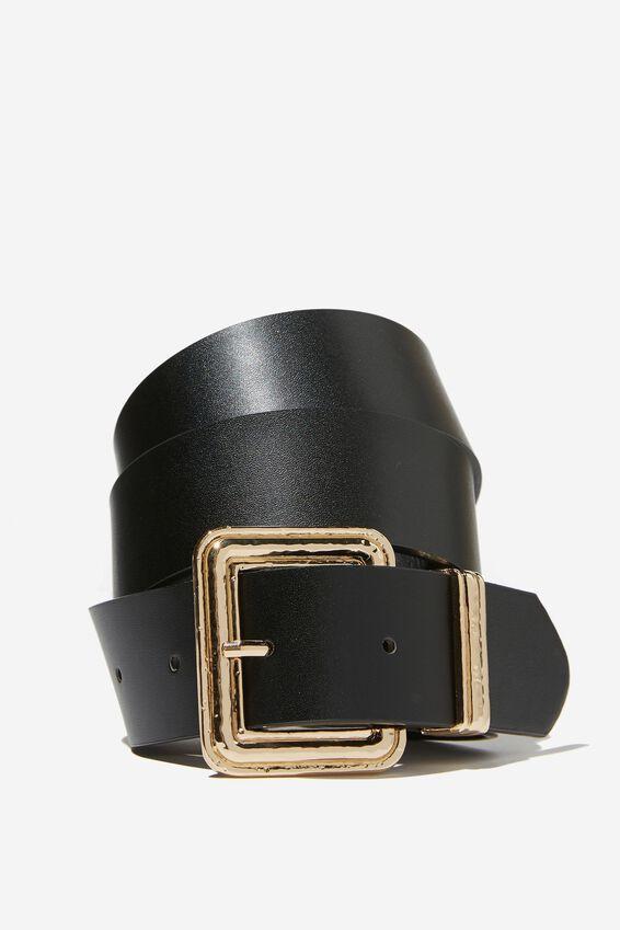 Jessie Wide Buckle Belt, BLACK