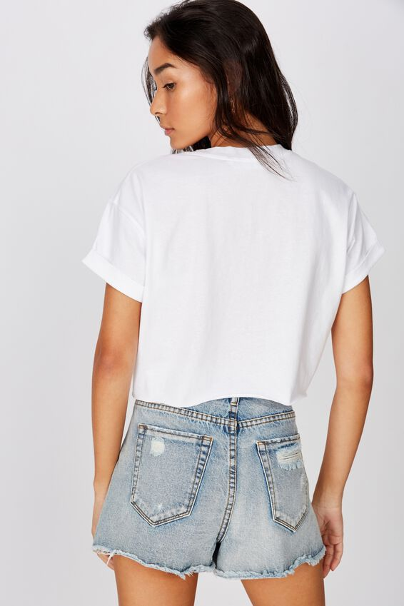 Tamara Printed Crop T Shirt, WHITE DIVINE FORTUNE