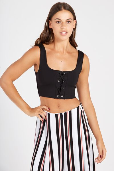 Lace Up Crop Top, BLACK
