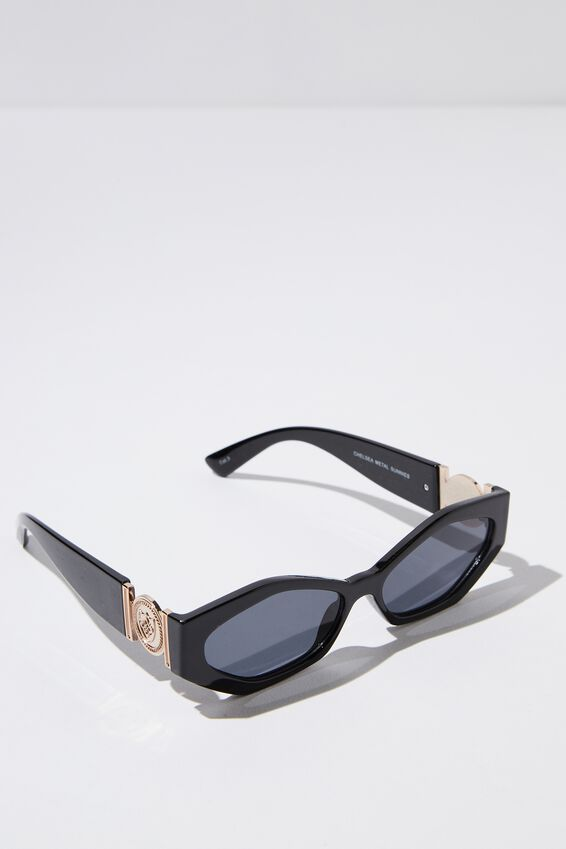 Chelsea Metal Sunglasses, BLACK/SMOKE