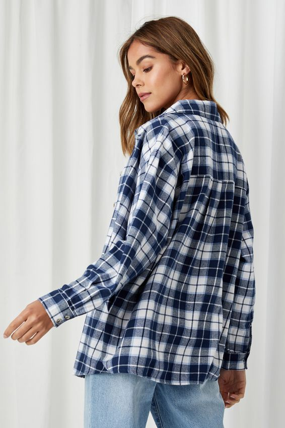 Lottie Oversized Check Shirt, OAKLEIGH CHECK NAVY