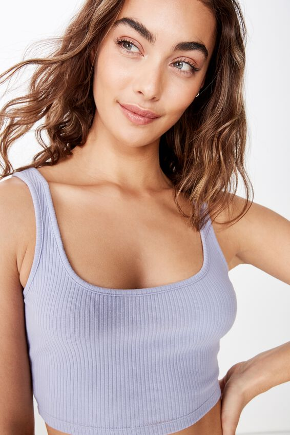Ari Rib Crop Top, PERIWINKLE