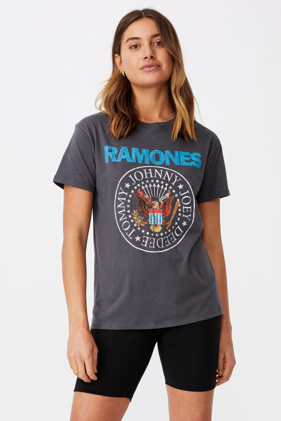 Kendall Printed T Shirt, GRANITE GREY/LCN MT RAMONES EAGLE