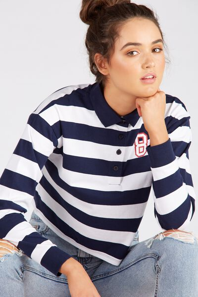 Long Sleeve Collared Rugby Top, NAVY/STRIPE