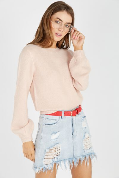 Clara Cosy Bell Sleeve Knit Top, BLUSH