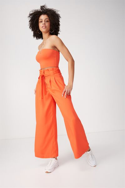 Madison Belted Wide Leg Pant, TANGERINE