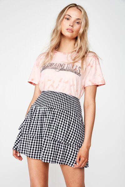 Poppy Shirred Waist Tiered Skirt, B&W GINGHAM