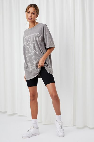 Candace Oversized Printed T Shirt, ACID WASH CEMENT GREY/LCN LED ZEPPELIN ANGEL