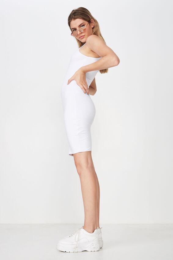 High Neck Mini Dress, WHITE