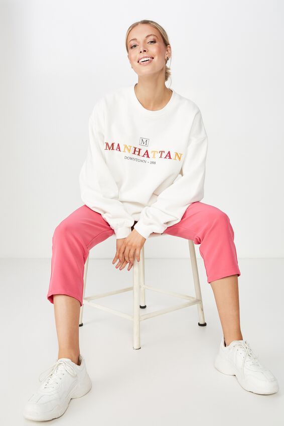Lara Long Sleeve Sweat, WINTER WHITE/MANHATTAN
