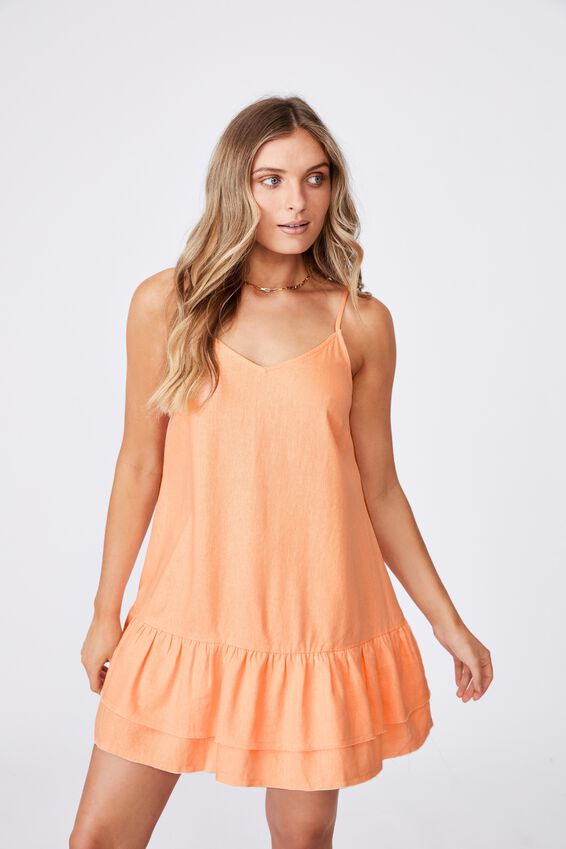 Harper Strappy Tiered Dress, BLUSH CORAL