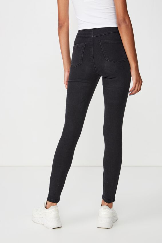 Long Super Skinny Sky High Ripped Jean, TRUE WASHED BLACK