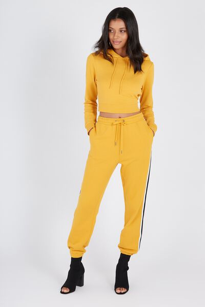 Basic Side Stripe Sweat Pant, MUSTARD