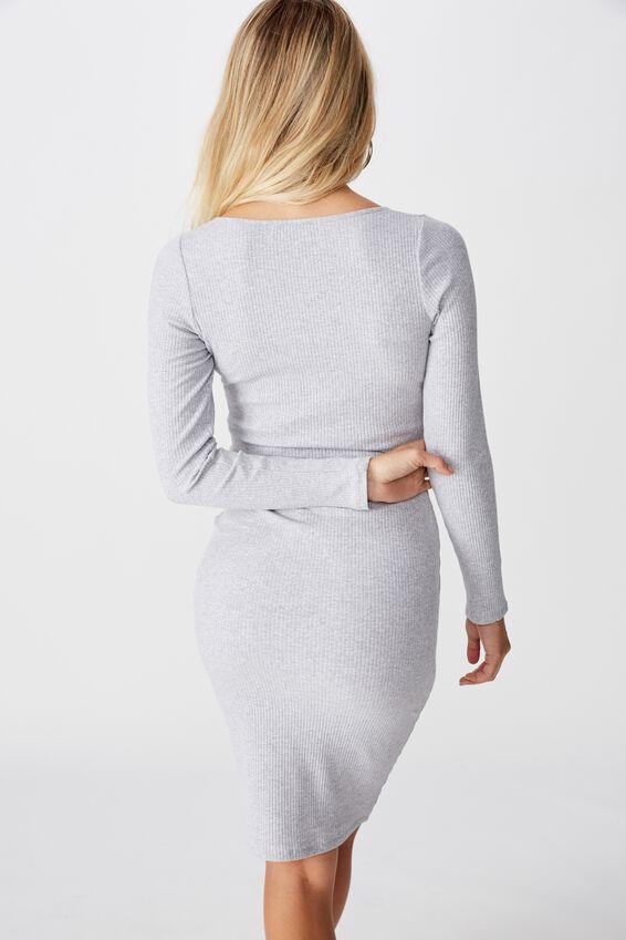 Seline Notch Front Dress, GREY MARLE