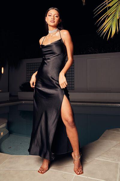 Caitlyn Cowl Neck Maxi Dress, BLACK