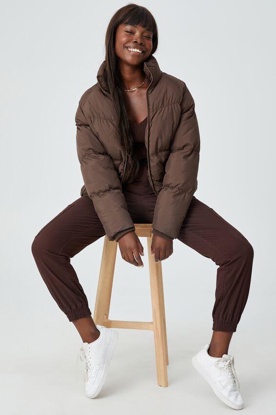 Kiki High Rise Cargo Pant, CHOCOLATE