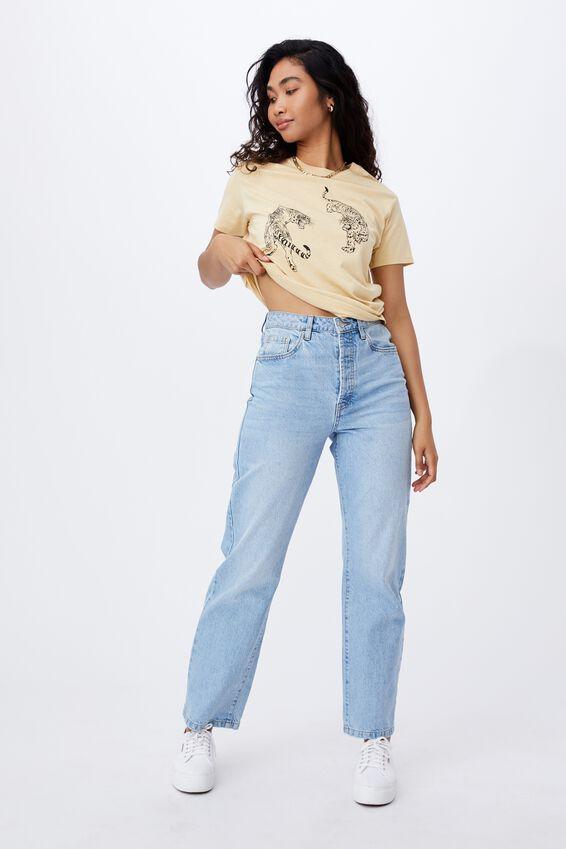 Lola Printed Longline T Shirt, BUTTERMILK/TIGERS