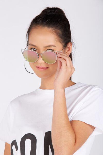 Catty Brow Sunglasses, SILVER/PURPLE