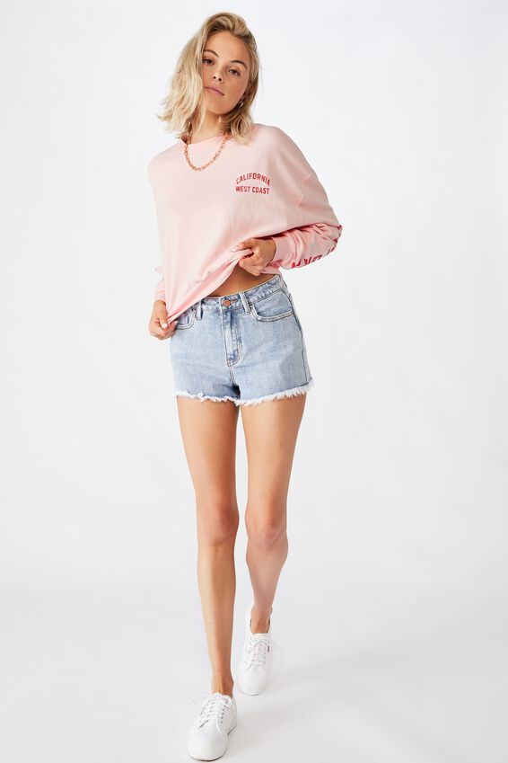 Crop Crew Neck California Jumper, FAIRYTALE PINK/CALI WEST COAST