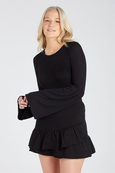 Frill Sweat Skirt, BLACK