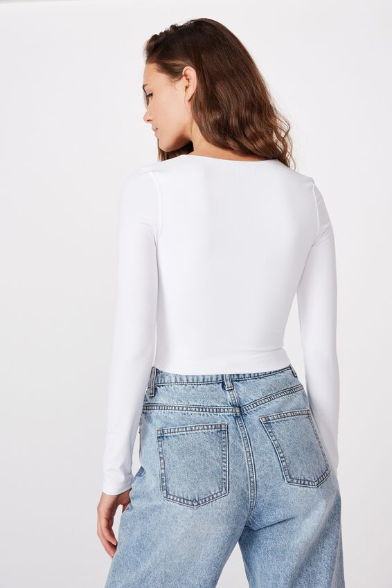 Hayley Gathered Front Long Sleeve Top, WHITE