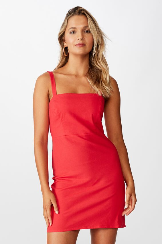 Rome Wide Strap Dress, CANDY RED