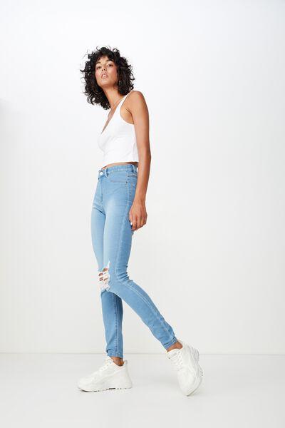 Long Super Skinny Ripped Jean, WAVE BLUE