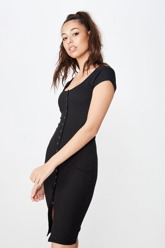 Leona Snap Button Midi Dress, BLACK