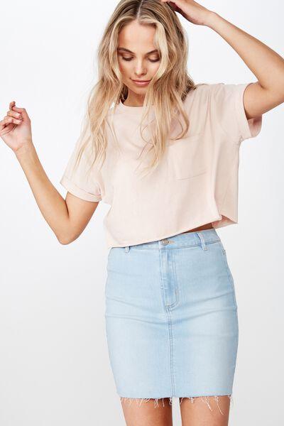 Chloe Stretch Denim Mini Skirt, BLEACH/RAW