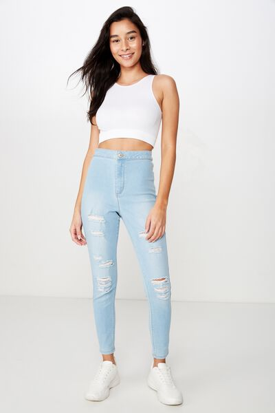 Short Super Skinny Sky High Ripped Jean, BABY BLUE