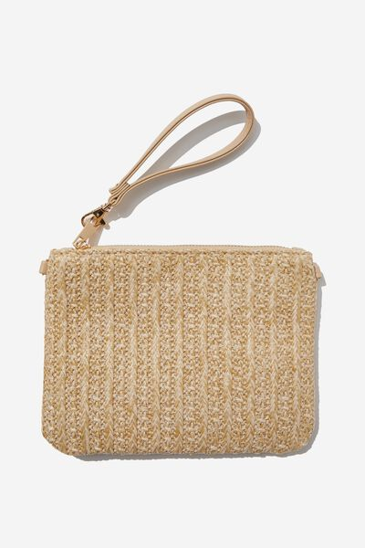 Sofia Zip Pouch With Wrist Strap, NATURAL TEXTURE