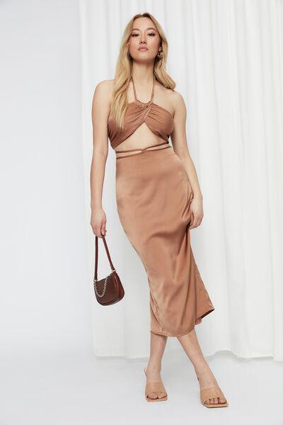 Sabrina Tie Waist Maxi Skirt, CARAMEL