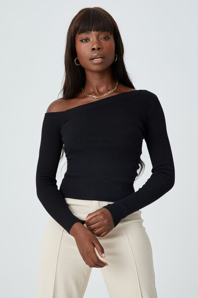 Karmen Off Shoulder Knit Top, BLACK