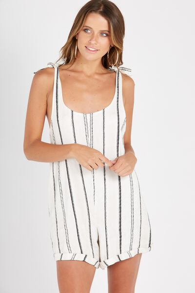 Tie Shoulder Striped Romper, WHITE/BLACK
