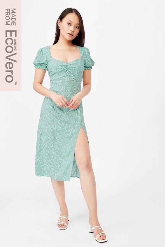 Zendaya Peasant Sleeve Midi Dress, PEBBLE SPOT LILYPAD