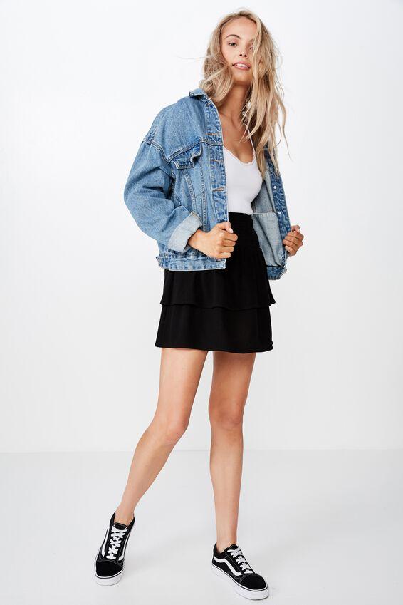 Poppy Shirred Waist Tiered Skirt, BLACK
