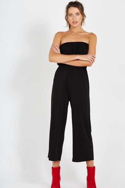 Strapless Jumpsuit, BLACK