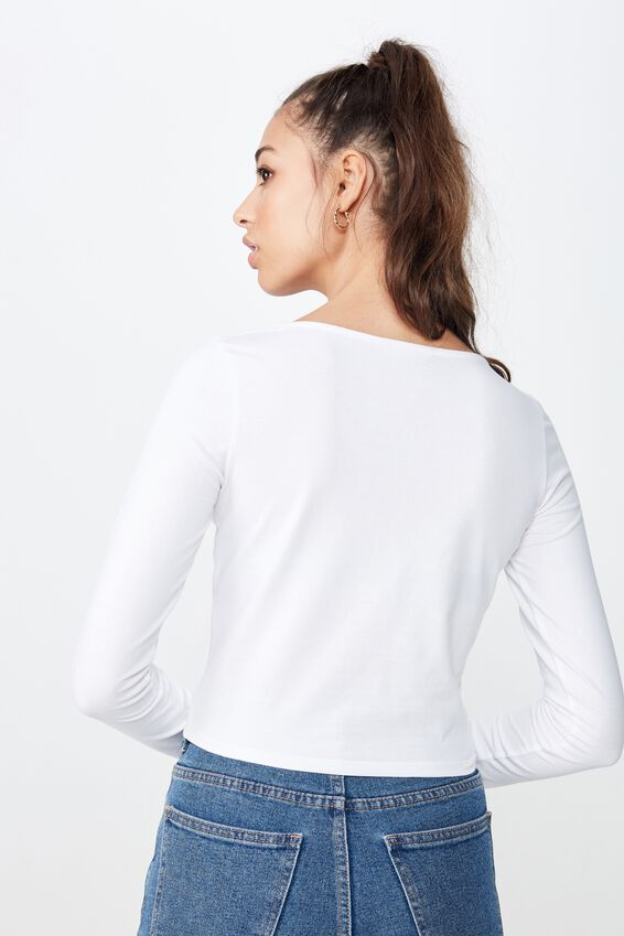 Long Sleeve V Neck Crop Top, WHITE