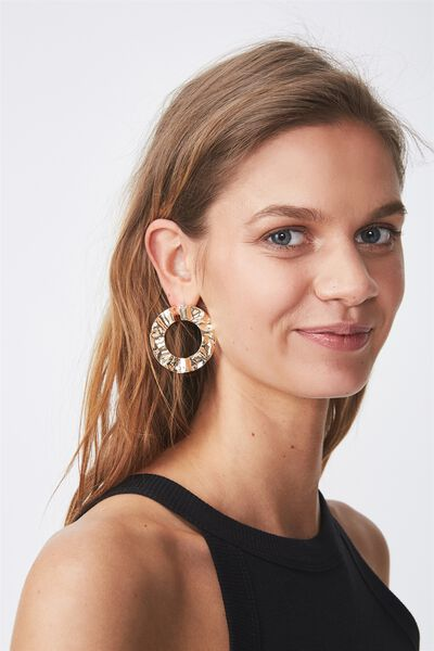 Hammered Open Hoops, GOLD