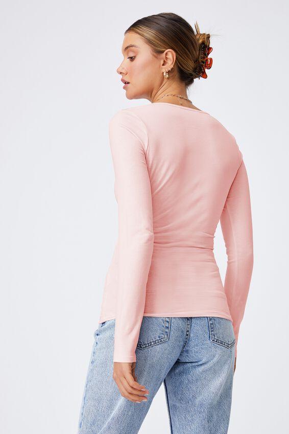 Helena Scoop Neck Long Sleeve Top, CHALK PINK