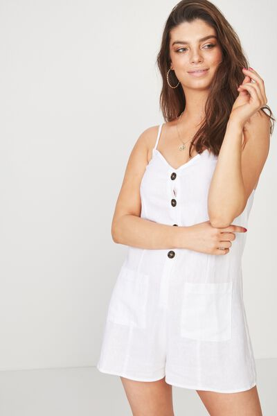 Button Front Playsuit, WHITE