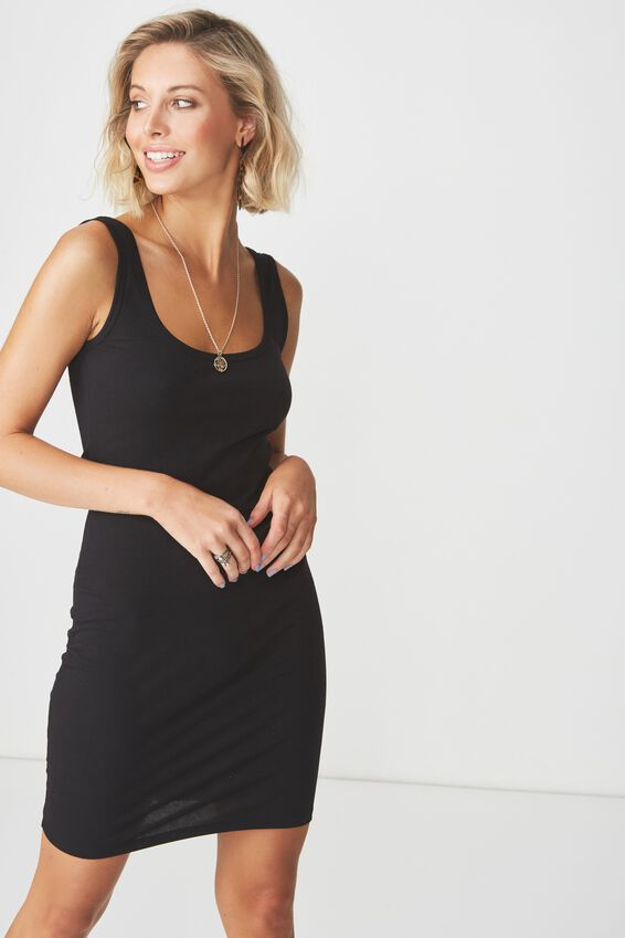 Basic Thick Strap Tank Dress, BLACK