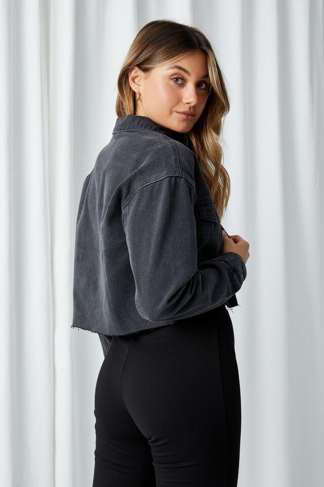 Oversized Crop Denim Jacket, ASH BLACK