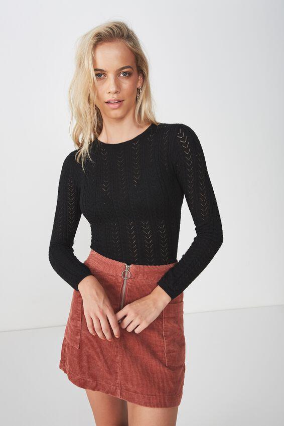 Mila Long Sleeve Pointelle Knit, BLACK