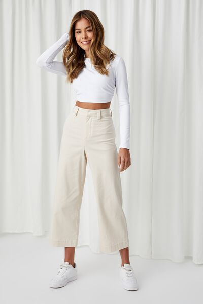 Zoe Wide Leg Pant, COOKIE CREAM